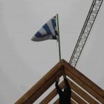 Der provisorische Richtkranz - Die Norderneyer Flagge