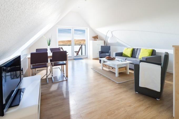 Wohnzimmer: Ausblick auf die Dünen Norderney
