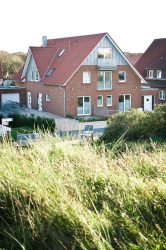 Blick von den Dünen auf das Haus